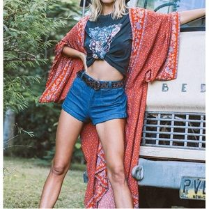 Bohemian Red Floral Kimono Cardigan Duster coverup